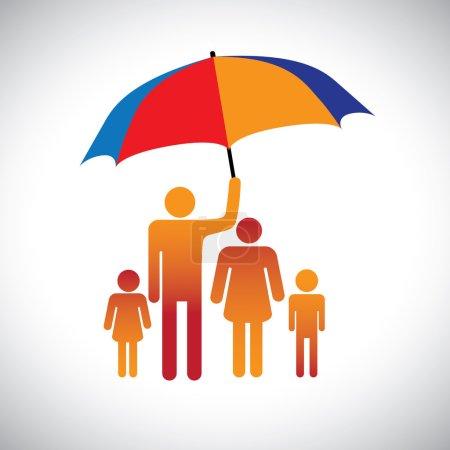 Illustration d'une famille de quatre personnes avec parapluie. Le rapport graphique