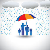 Father protecting family from heavy rain with umbrella The graphic represents father holding a colorful umbrella covering his family which includes his wife & children(concept of caring love etc)