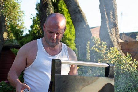 Man cooking at the bbq