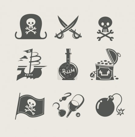 Pirates accessory set of icon