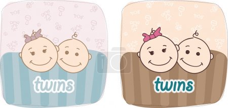 Illustration for Twins: boy and girl - Royalty Free Image