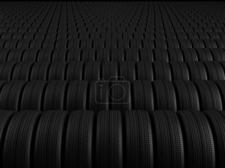 Rows of automobile tire