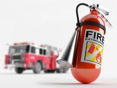 """Постер, картина, фотообои """"Пожарная машина и огнетушитель"""""""