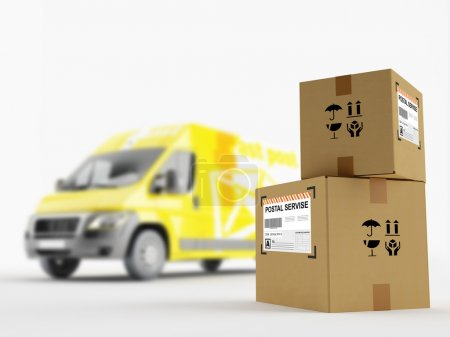 Photo for Cardboard boxes on the background of the postal service vehicle - Royalty Free Image