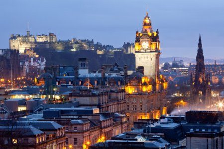 Photo for Close up of Edinburgh Skylines Skyscrapers Castle and Monument from Calton Hill at dusk Scotland UK - Royalty Free Image