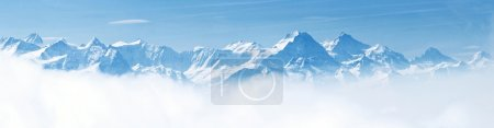 Photo for Panorama of Snow Mountain Landscape with Blue Sky from Pilatus Peaks Alps Lucern Switzerland - Royalty Free Image