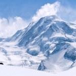 Panorama of Snow Mountain Range Landscape with Blue Sky at Matterhorn Peak Alps Region Switzerland