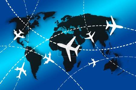 Photo pour Avions Itinéraires autour du monde pour le concept de voyage - image libre de droit