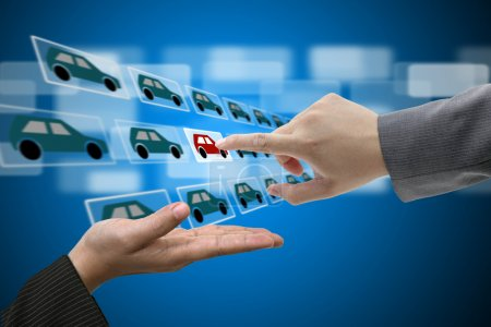 Photo for Business Man Hand touch Virtual Touch Screen Interface for New Car from Electronic Market - Royalty Free Image