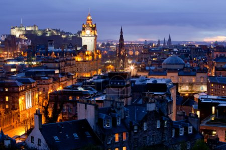 Photo for Edinburgh Cityscape and castle from Calton Hill at dusk Scotland UK - Royalty Free Image