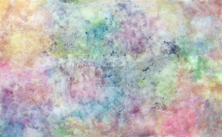 Photo for Abstract free hand drawing from watercolor techniques from young artist illustrated children are learning kind - Royalty Free Image