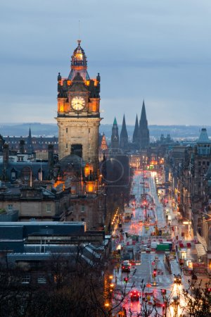 Photo for Edinburgh with Clock Tower from Calton Hill at dusk Scotland UK - Royalty Free Image