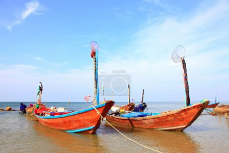 Photo for Fisherman long tail boat park at the Rayong beach in Thailand, closeup - Royalty Free Image