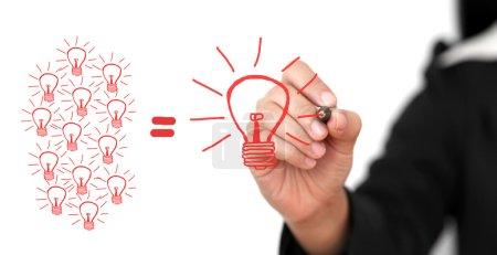 Photo pour Entreprise Rédaction manuelle Grande équipe d'idées pour la créativité Équipe de remue-méninges Concept - image libre de droit