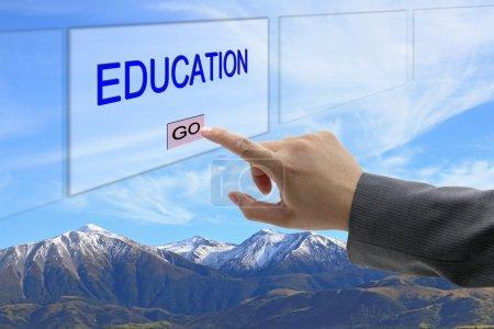 Man hand push education
