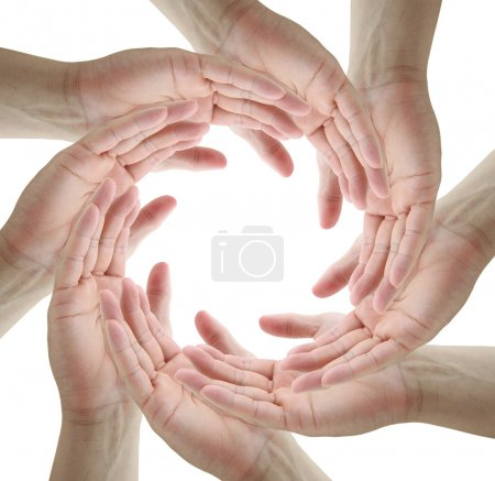 Photo for Teamwork Conceptual symbol of human hands making a circle on white background with a copy space in the middle - Royalty Free Image