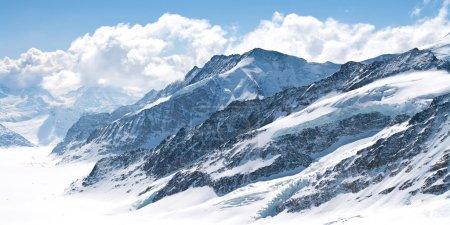 Photo pour Grand glacier d'Aletsch Jungfrau, partie des Alpes suisses Paysage de montagne de neige alpine en Suisse . - image libre de droit