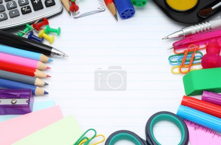 Photo for School office supplies on a white background - Royalty Free Image