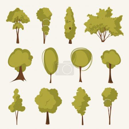 Illustration tree set