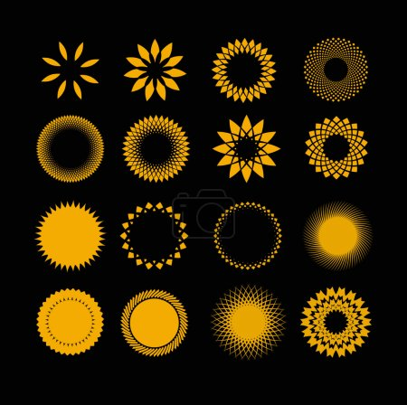 Illustration for A set of 16 non-ferrous stylized suns - Royalty Free Image