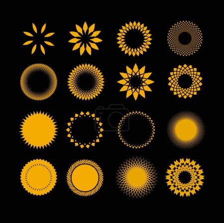 Illustration pour Un ensemble de 16 soleils stylisés non ferreux - image libre de droit