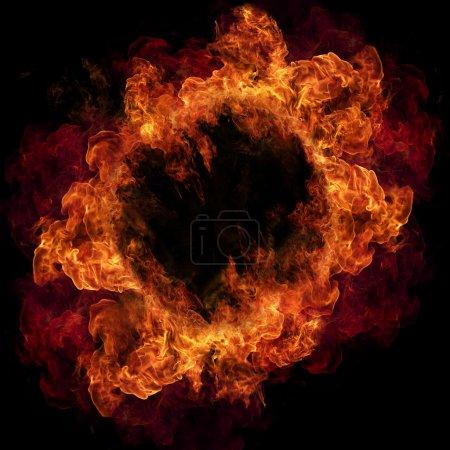 Foto de Anillo de fuego, aislado sobre fondo negro - Imagen libre de derechos