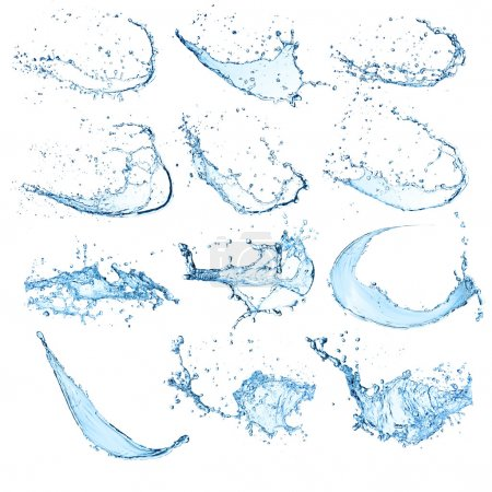 Photo for High resolution water splashes collection isolated on white background - Royalty Free Image