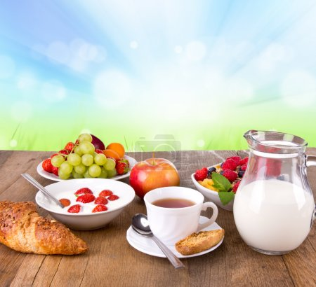 Photo for Healthy cereals breakfast with nature blur background - Royalty Free Image
