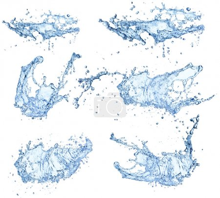 Photo for Water splashes collection isolated on white background - Royalty Free Image