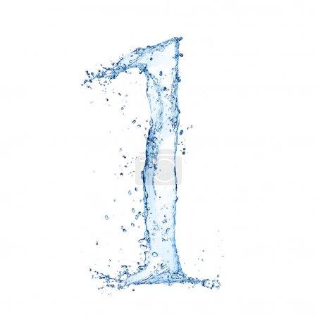 """Foto de Agua salpica número """"1"""" aislados sobre fondo blanco - Imagen libre de derechos"""