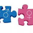 Blue and pink puzzle pieces with male and female s...