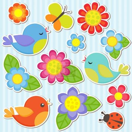 Illustration pour Fleurs vectorielles, oiseaux, papillons et coccinelles - image libre de droit