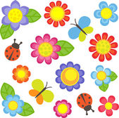Vector flowers butterflies and ladybugs