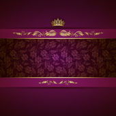 Elegant golden frame banner with crown on the ornate purple background EPS 10
