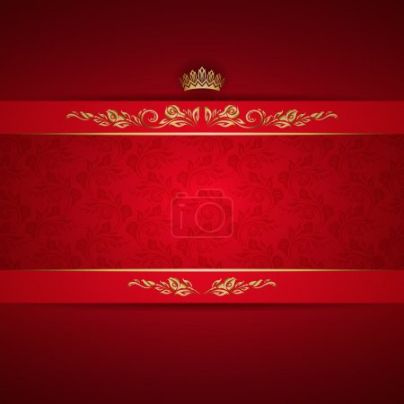 Illustration for Elegant golden frame banner with crown on the ornate red background. EPS 10. - Royalty Free Image