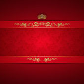 Elegant golden frame banner with crown on the ornate red background EPS 10
