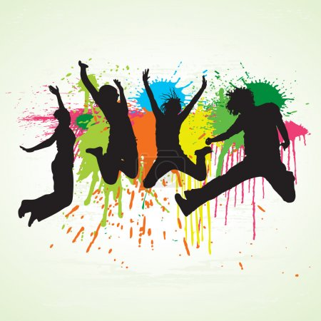 Illustration for Vector jumping with splattered paint. Used separate layers for can be easy editable. - Royalty Free Image