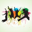 Vector jumping with splattered paint. Used separat...
