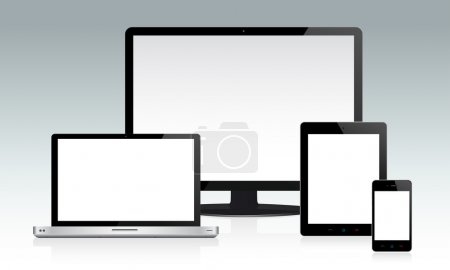 Photo for Detailed illustration of multiple devices with white blank screens. Easy editable with layers... - Royalty Free Image