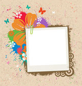Blank photo frame with flower and splattered ink Easy editable with separate layers
