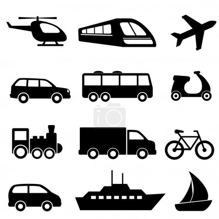 Transportation icons in black