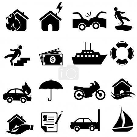 Illustration pour Icône d'assurance mis en noir - image libre de droit