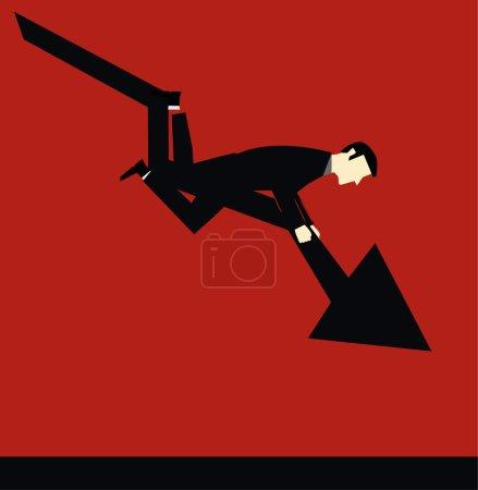 Businessman Falling Chart