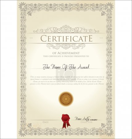 Illustration for Vector illustration of detailed certificate - Royalty Free Image
