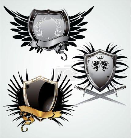 Illustration pour Bouclier avec ailes - image libre de droit