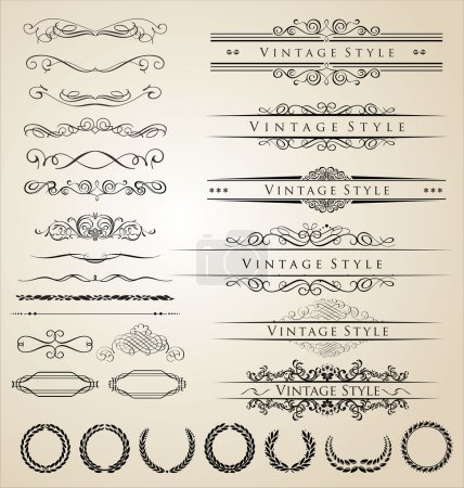 Illustration for Decorative border and frame set - Royalty Free Image