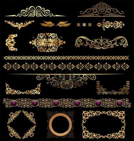 Gold calligraphic design elements