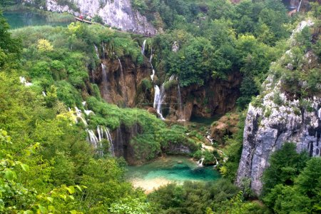Plitvice waterfall landscape with lake