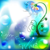 Fairy flower in a blue and green color shades background with space for Text