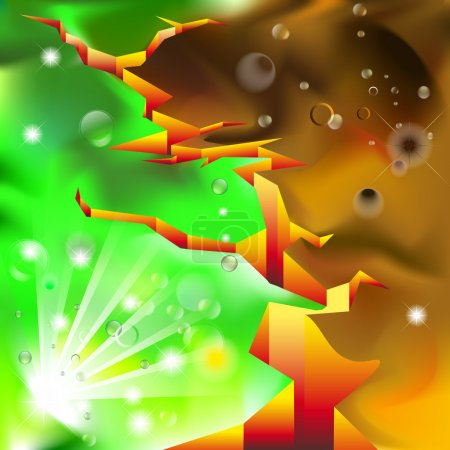 Illustration for Abstract background with Deep crack between life and death - Royalty Free Image